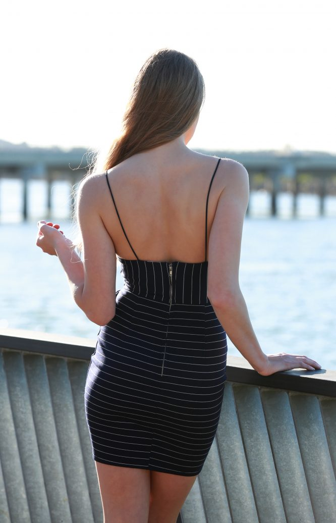 Out Of The Blue Dress - Stripe back