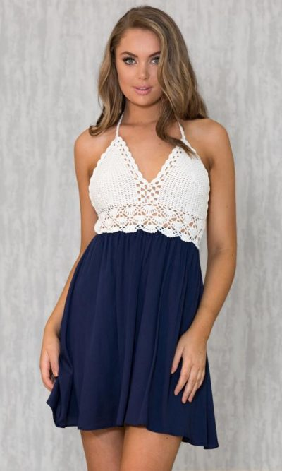Crochet For Days Dress - Pink or Navy