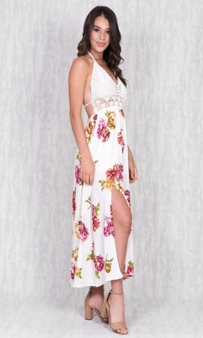 Hannah Crochet Maxi Dress- Floral
