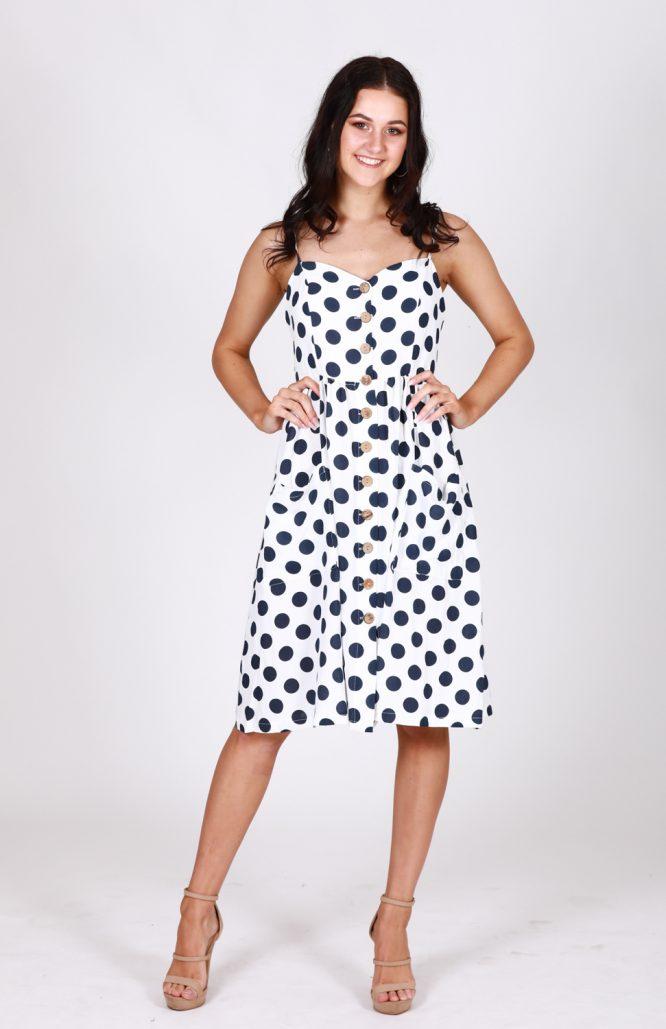 Leah Polka Dot Button Through Dress