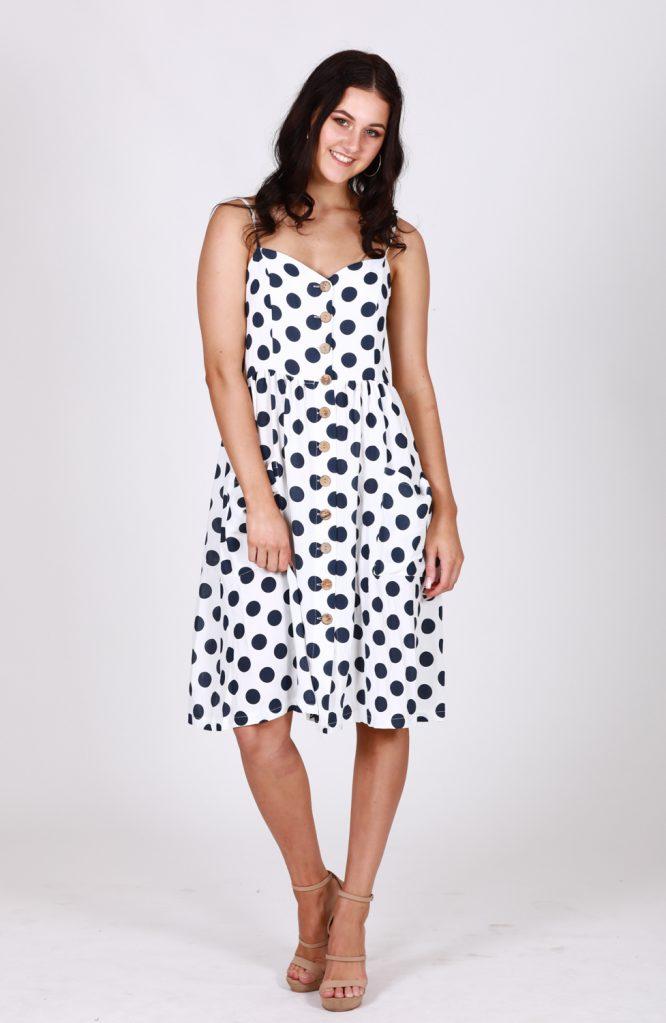 Leah Polka Dot Button Through Dress D