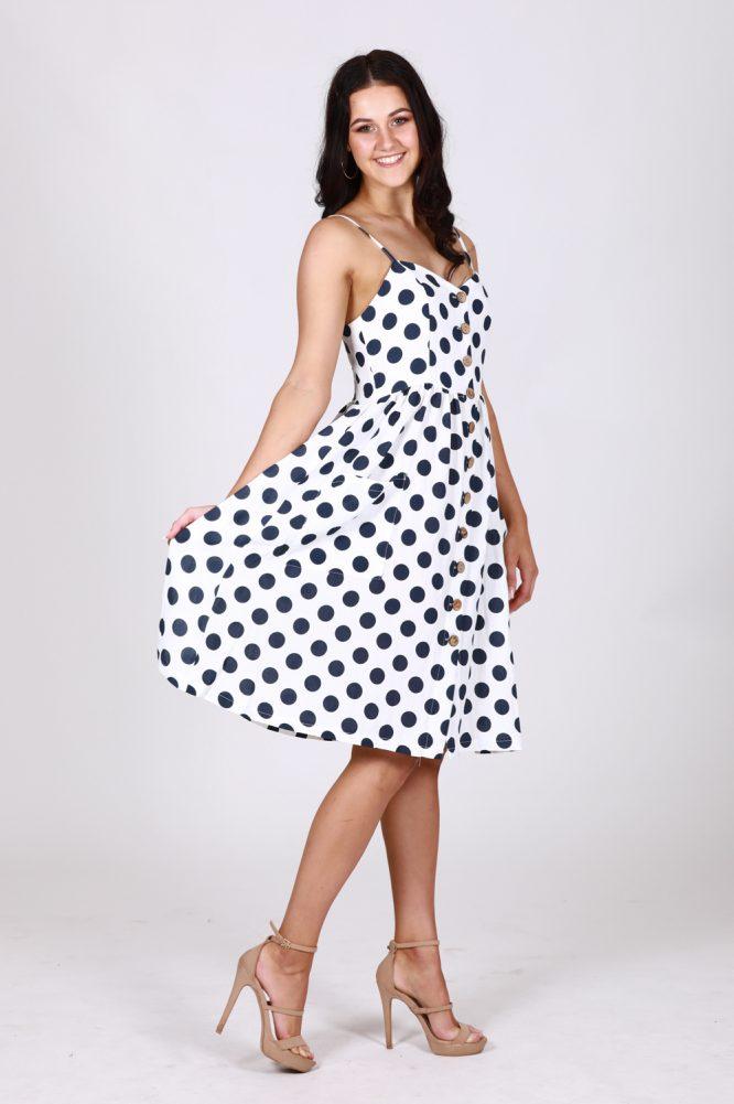 Leah Polka Dot Button Through Dress df