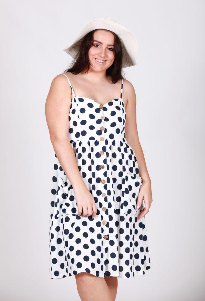 Leah Polka Dot Button Through Dresslf