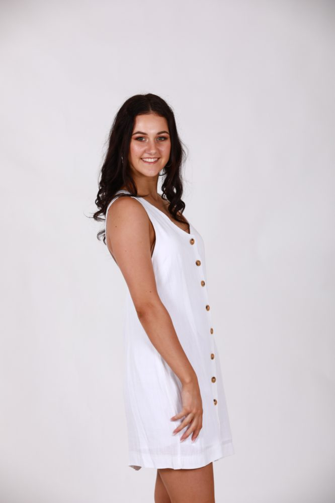 Saskia White Linen Dress side