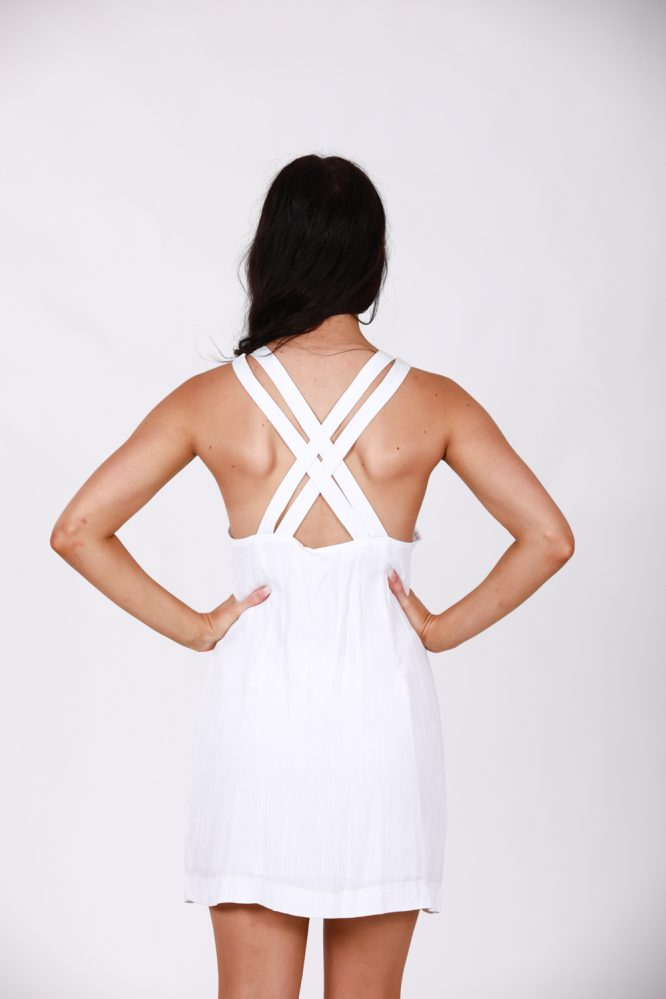 Saskia White Linen Dress b