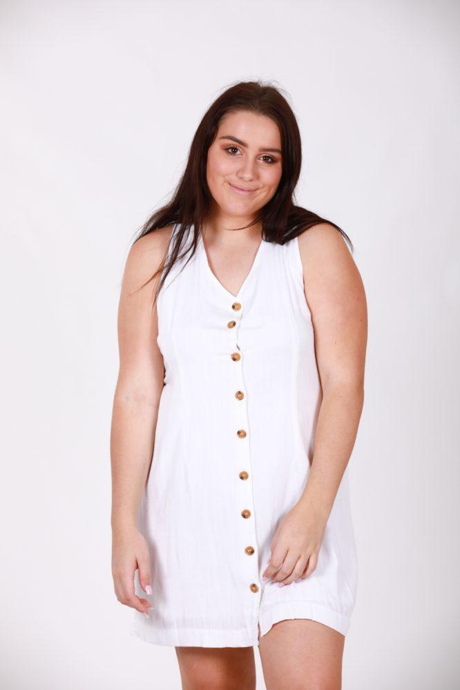 Saskia White Linen Dress