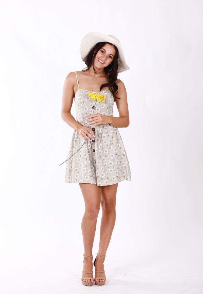 Matilda Beige Linen Floral Dress