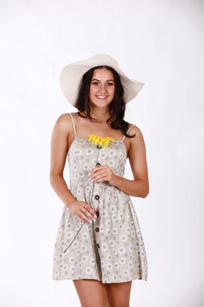 Matilda Beige Linen Floral Dress 1