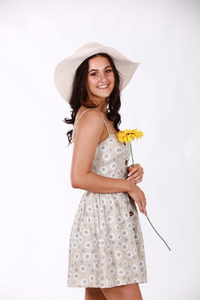 Matilda Beige Linen Floral Dress2