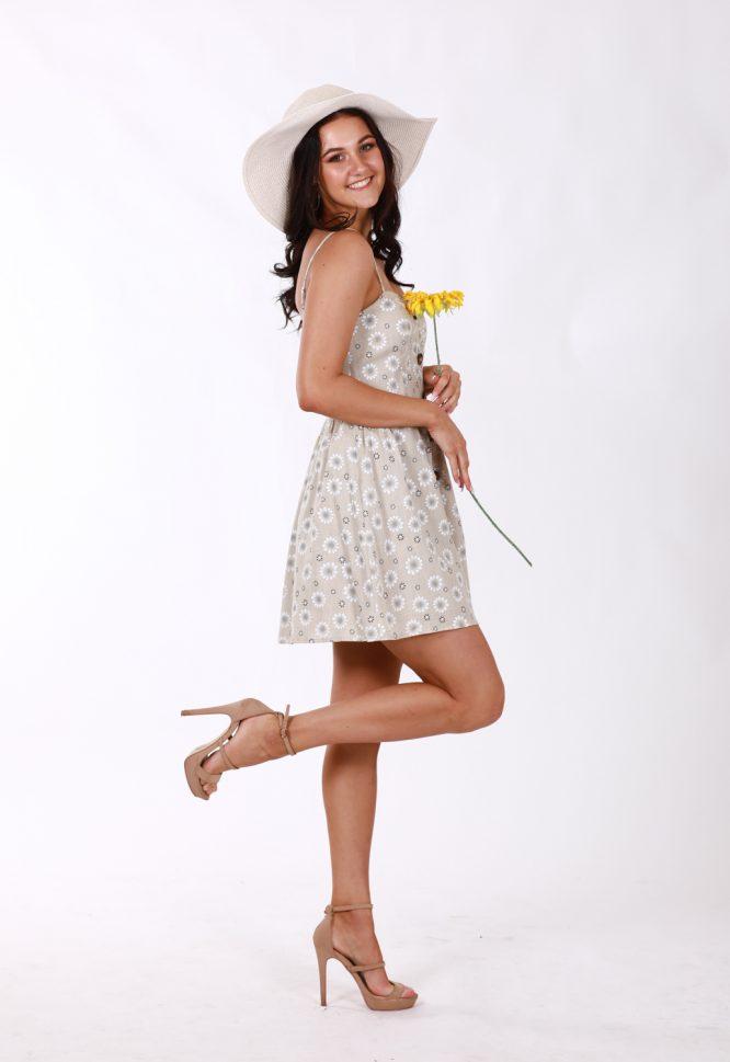 Matilda Beige Linen Floral Dress 4
