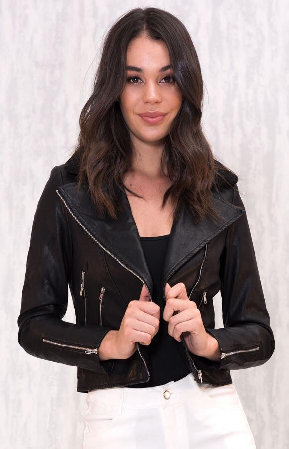 Anarchy Faux Leather Biker Jacket- Black