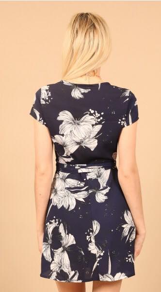 Wrap Floral Print Dress black