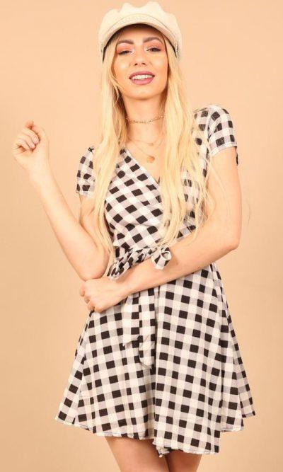 Wrap Monochrome Print Dress f