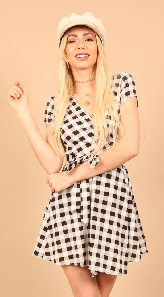 Wrap Monochrome Print Dress f
