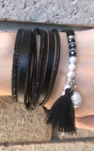 PU leather cords give a bohemian feel to the Festival Wrap Bracelet, Available in two colours - Black or pewter (grey).