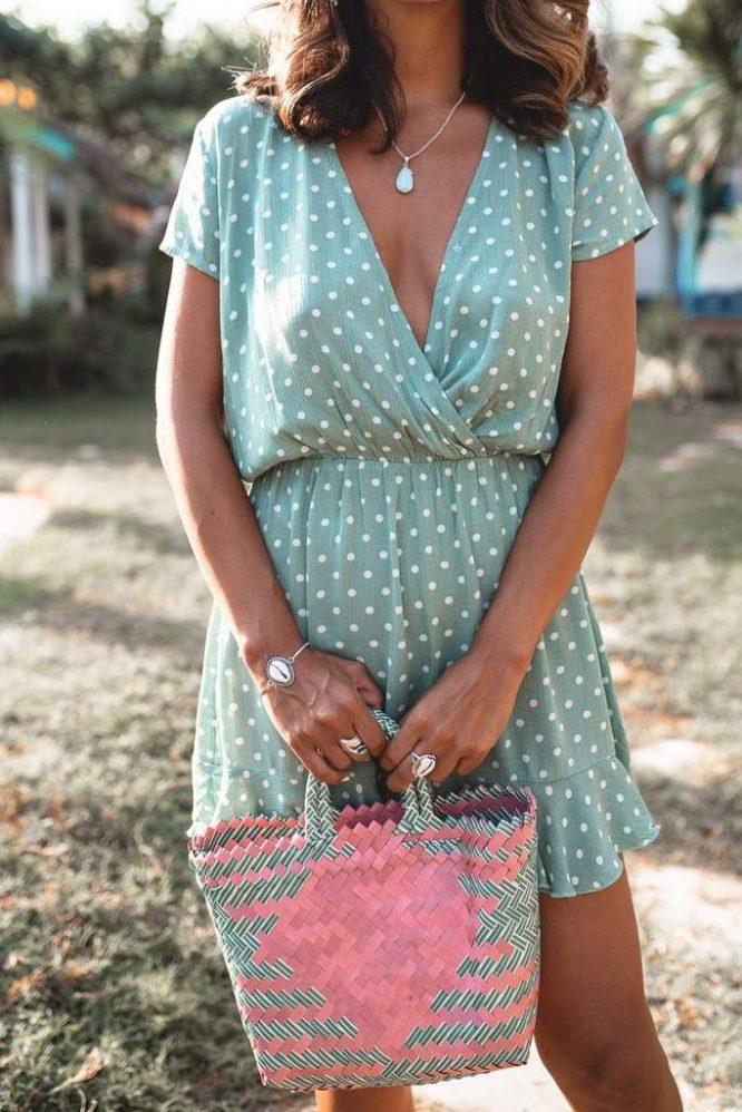 Havana Mini Dress Mint - San Jose The Label close