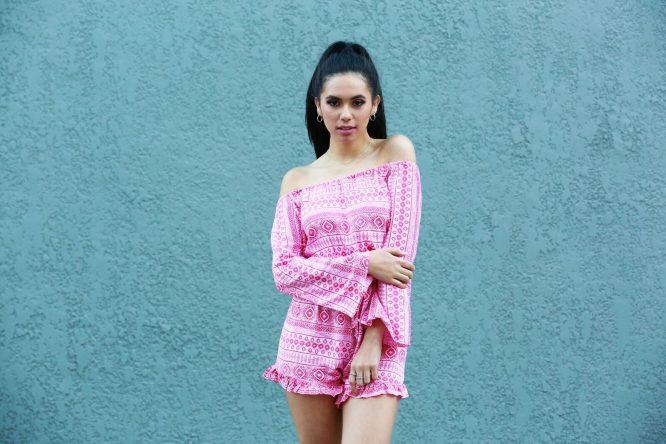 Lucinda Off The Shoulder Playsuit pink