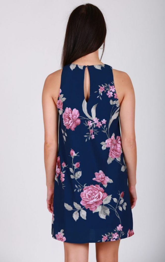 Roses Are Pink Dress -Navy back