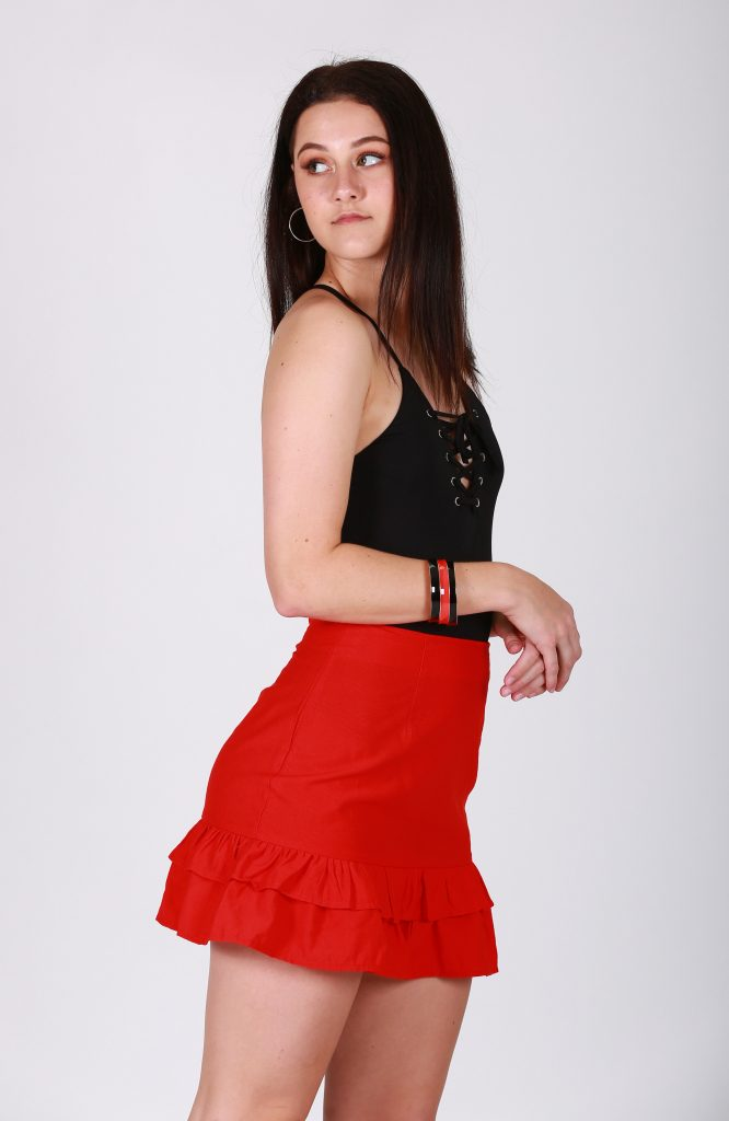 Kryptonite Red Mini Skirt side