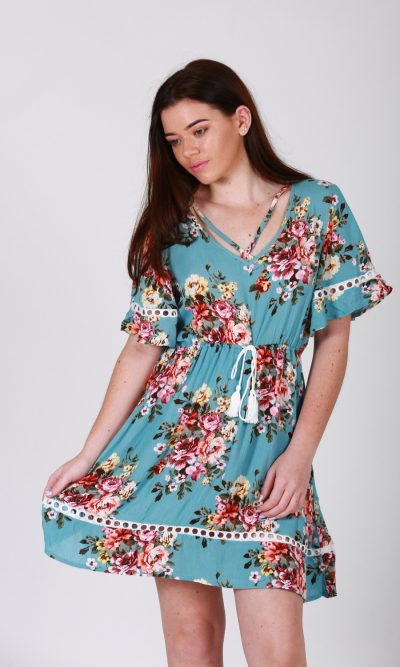 Selma Dress - Dusty Blue Floral front