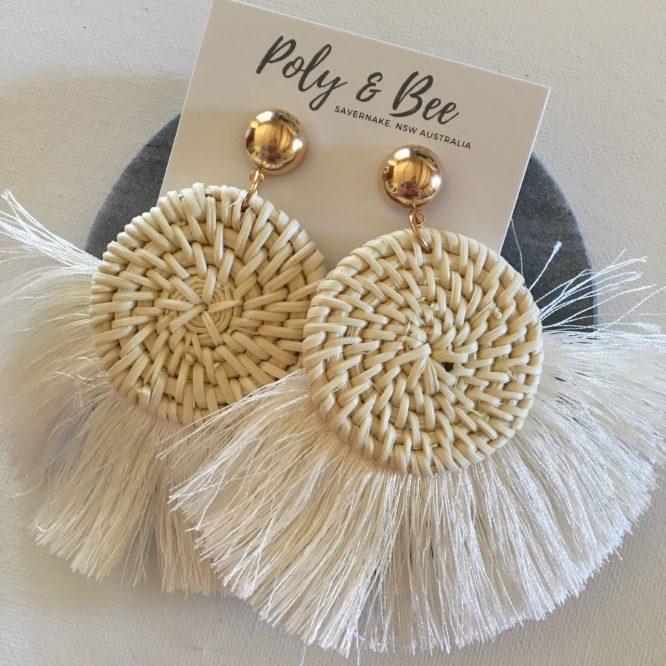 Rattan Weave Fan Tassel Earrings
