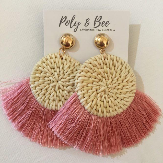 Rattan Weave Fan Tassel Earrings pink