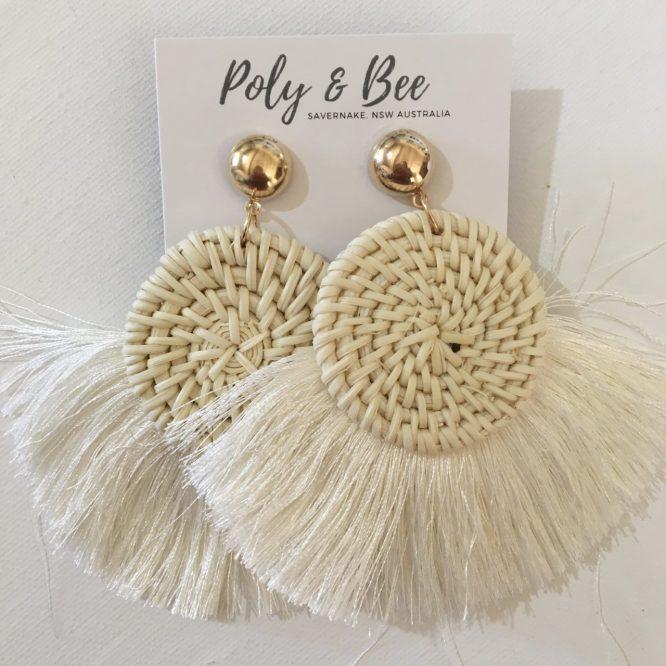 Rattan Weave Fan Tassel Earrings ivory