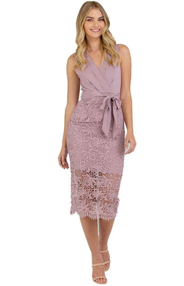 Veronica Lace Contrast Dress front