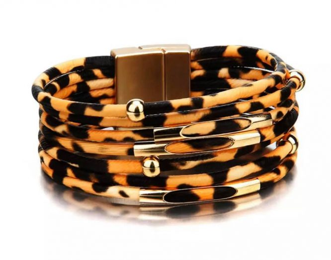Leopard Print Magnetic Bracelets brown