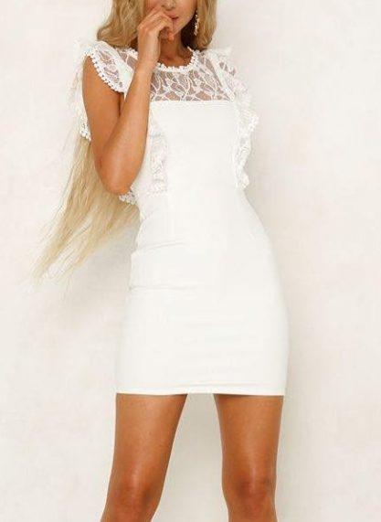 Anastasia White Frill dress front