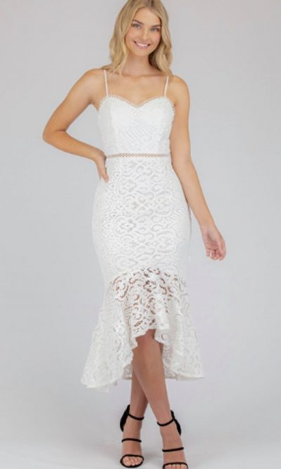 Felicity Lace Midi Dress - White