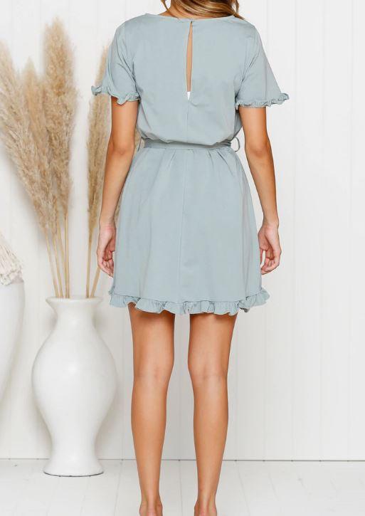 Cressida sage Mini Dress back