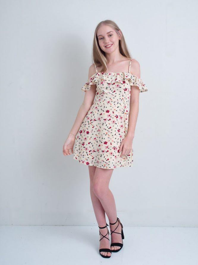 Mallory Beige Mini Dress - Luvalot