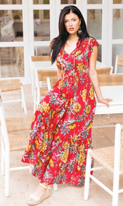 Espana Dress Red Floral - Sanctum