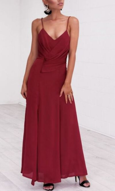 Seville Burgundy Maxi Dress - Angel Biba 2