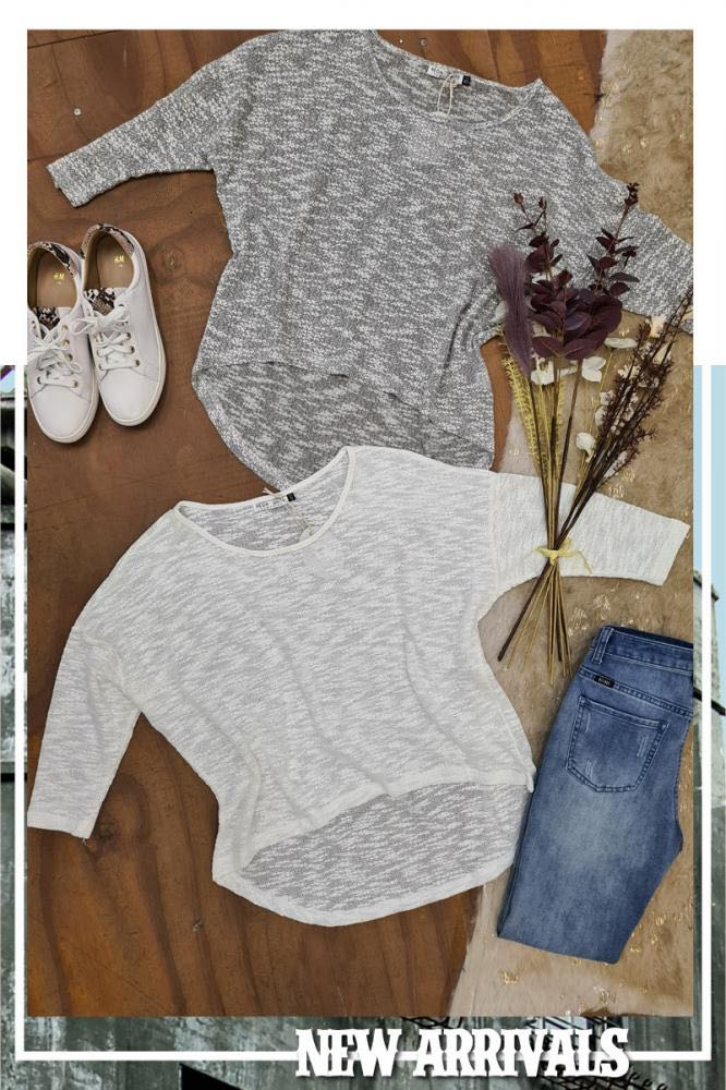 Grey Slouch Tee - Neon White