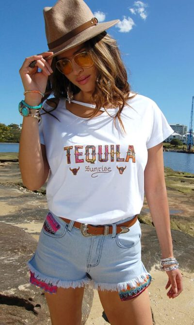 Tequila Sunrise White Tee - Refuge Denim