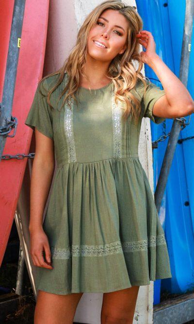 Austyn Khaki Mini Dress - Dreamcatcher
