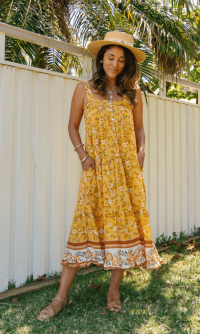Ayana Midi Dress Amber- San Jose The Label