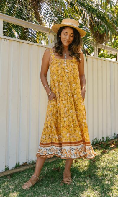 Ayana Midi Dress Amber- San Jose The Label