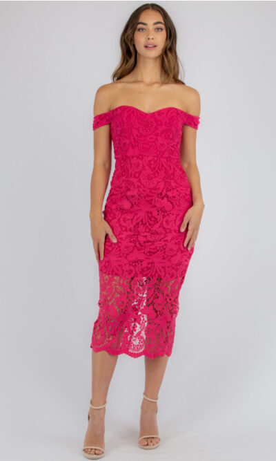 Harriet Lace Midi Dress - Raspberry