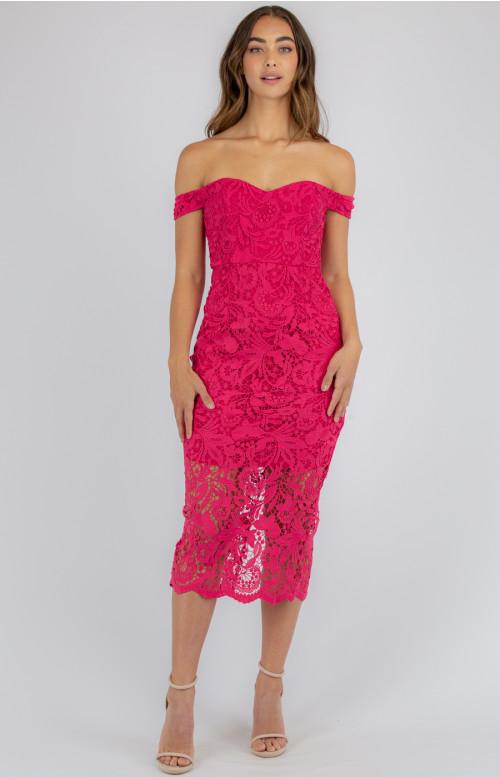 Harriet Lace Midi Dress - Raspberry