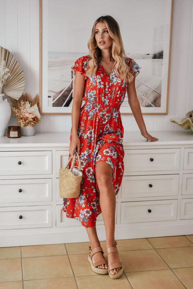 Simply Red Midi Dress - Sanctum