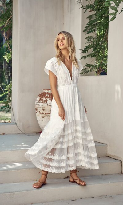 Snow White Lace Pandora Maxi Dress - Jaase