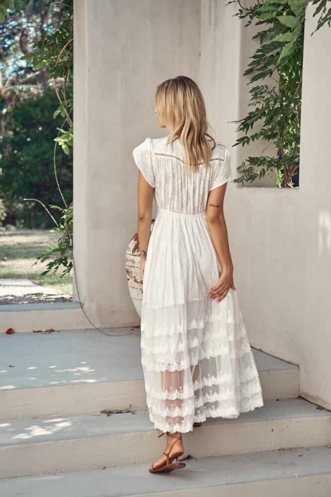 Snow White Lace Pandora Maxi Dress - Jaase