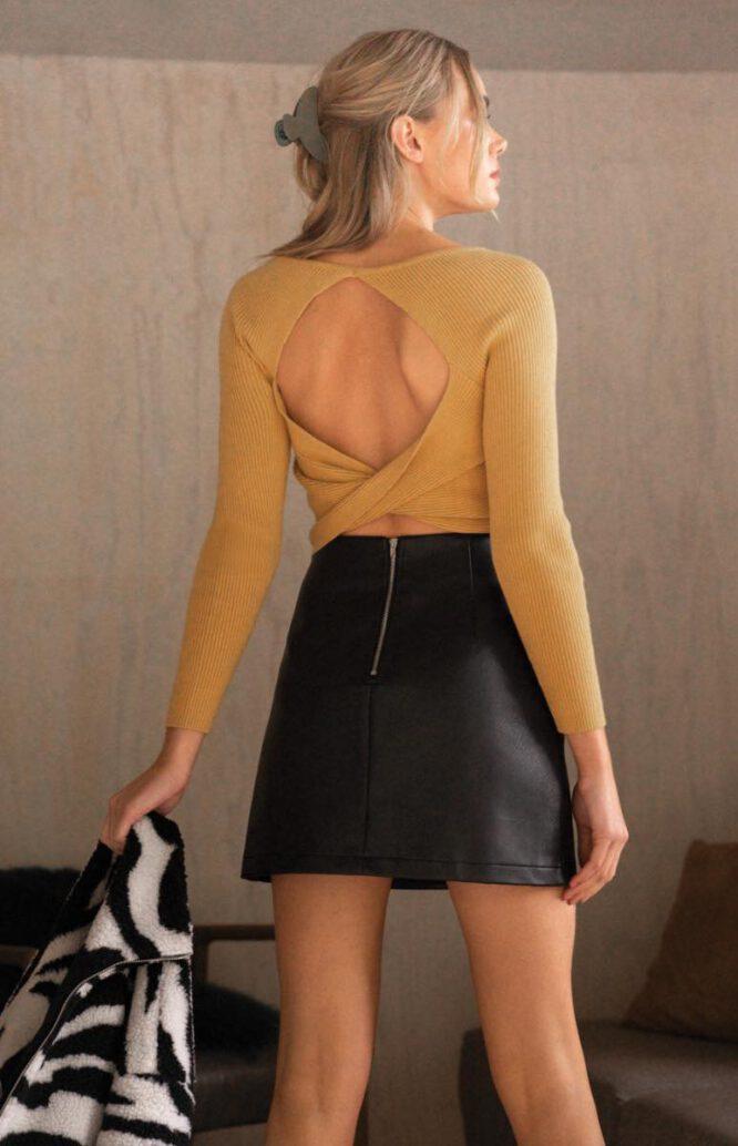 Phoenix Faux Leather Skirt - Black