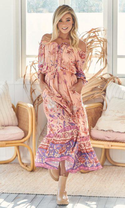 Princess Swan Print Tiana Maxi Dress - Jaase