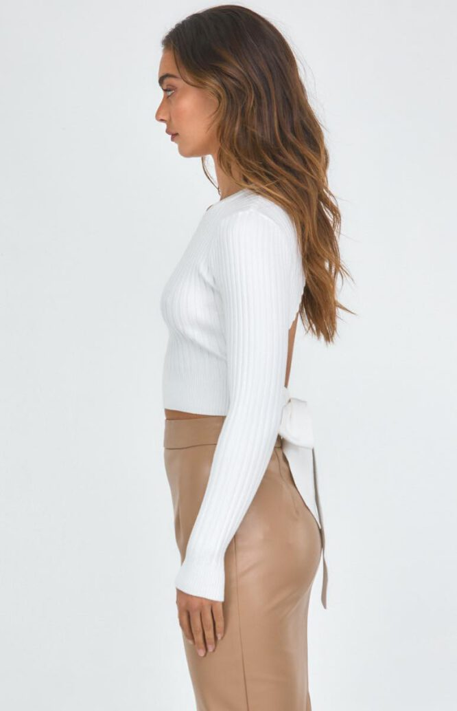 Oxford Tie Back Ribbed Top - White