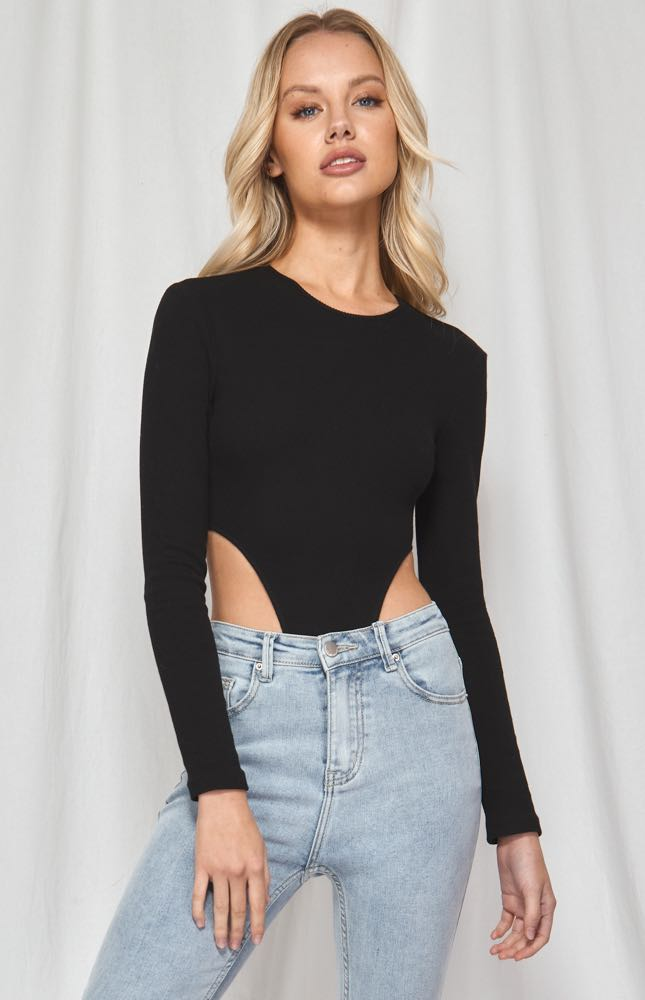 High cut Black Bodysuit - Winnie and Co